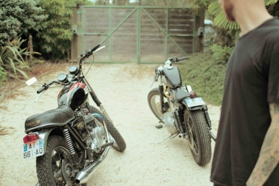 Harley and a Triumph - vintage rides