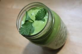 Basil and frozen yoghurt smoothie