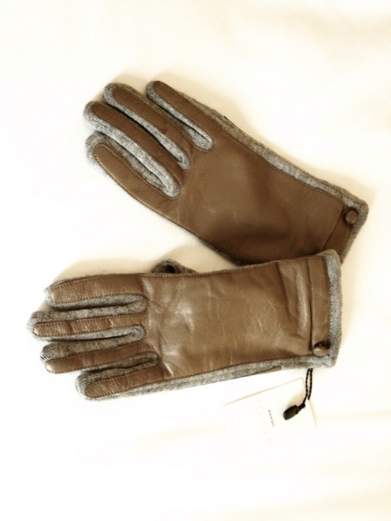 Leather and cotton driving gloves Paris