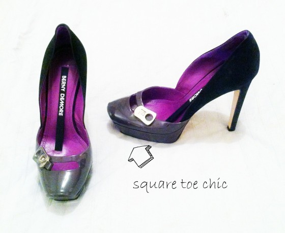 Grey square toe shoe