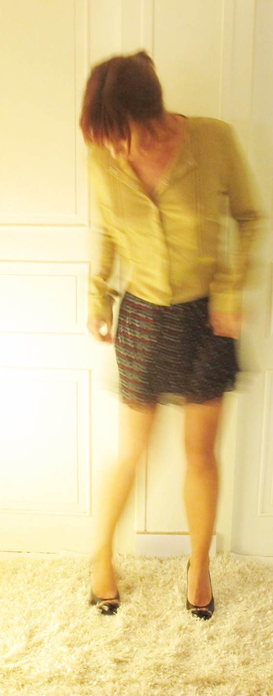 Polker dot miniskirt and Gold blouse oufit