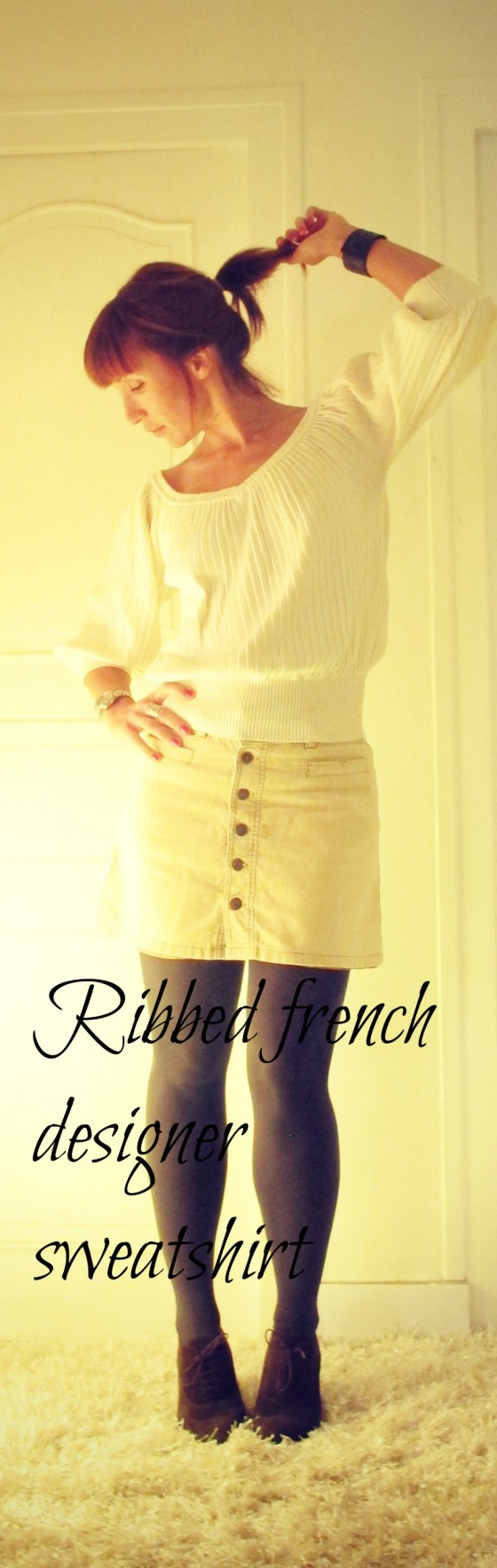 Ribbed French Designer Sweatshirt