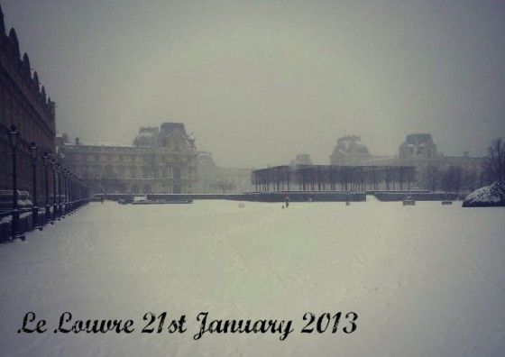 Louvre Paris snow